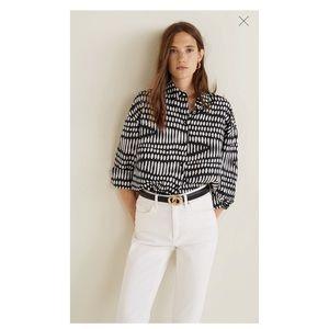 [Mango] Geometric Print Flowy Shirt Size 6